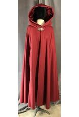 3950 - Cardinal Red Shaped Shoulder Cloak w/Arm Slits, Matching Velvet Hood Lining, Pewter Vale Clasp