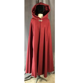 3950 - Cardinal Brick Red Shaped Shoulder Cloak w/Arm Slits, Matching Velvet Hood Lining, Pewter Vale Clasp