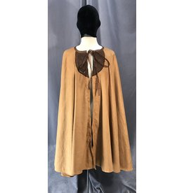 4039 - Golden Brown Poly Suede Cloak w/Brown Dragon Embroidered Panels, Ribbon Tie