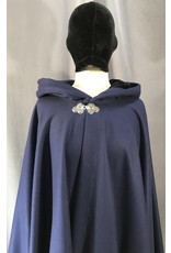 4040 - Navy Blue Full Circle Cloak, Midnight Blue Hood Lining, Pewter Triple Medallion Clasp