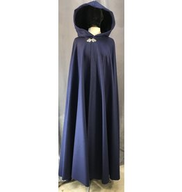 Cloak and Dagger Creations 4040 - Navy Blue Full Circle Cloak, Midnight Blue Hood Lining, Pewter Triple Medallion Clasp