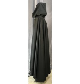 4042 - Washable Black Full Circle Cloak, Pewter Vale Clasp