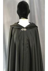 Cloak and Dagger Creations 4042 - Washable Black Full Circle Cloak, Pewter Vale Clasp