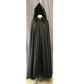 4043 - Washable Black Full Circle Cloak w/Liripipe Hood, Pewter Vale Clasp