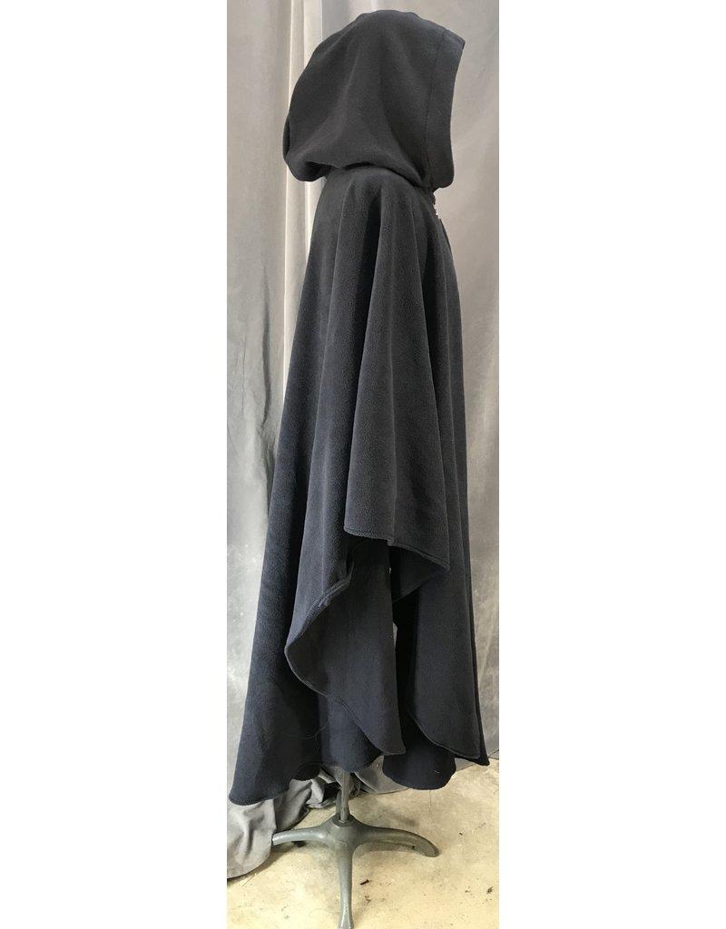 4045 - Navy Blue Windpro Fleece Ruana, Pewter Triple Medallion Clasp