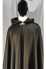 Cloak and Dagger Creations 4047 - Deep Brown Cashmere Wool Full Circle Cloak, Teal Stretch Velvet Hood Lining, Pewter Triple Medallion Clasp