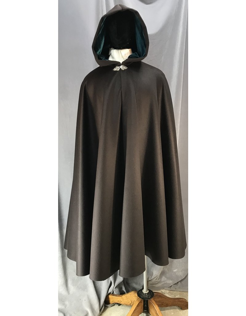 4047 - Deep Brown Cashmere Wool Full Circle Cloak, Teal Stretch Velvet Hood Lining, Pewter Triple Medallion Clasp