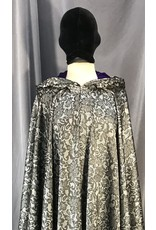 4048 - Washable Lace-look Black on Silver Full Circle Cloak, Royal Purple Cotton Velveteen Hood Lining, Pewter Vale Clasp