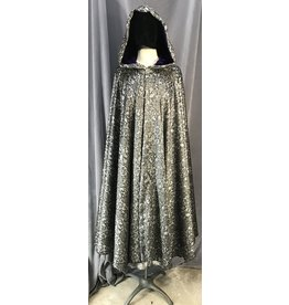 Cloak and Dagger Creations 4048 - Washable Lace-look Black on Silver Full Circle Cloak, Royal Purple Cotton Velveteen Hood Lining, Pewter Vale Clasp