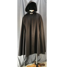4049 - Dark Brown Cashmere Blend Shaped Shoulder Cloak w/Arm Slits & Pockets, Olive Green Strech Velvet Hood Lining, Pewter Triple Medallion Clasp
