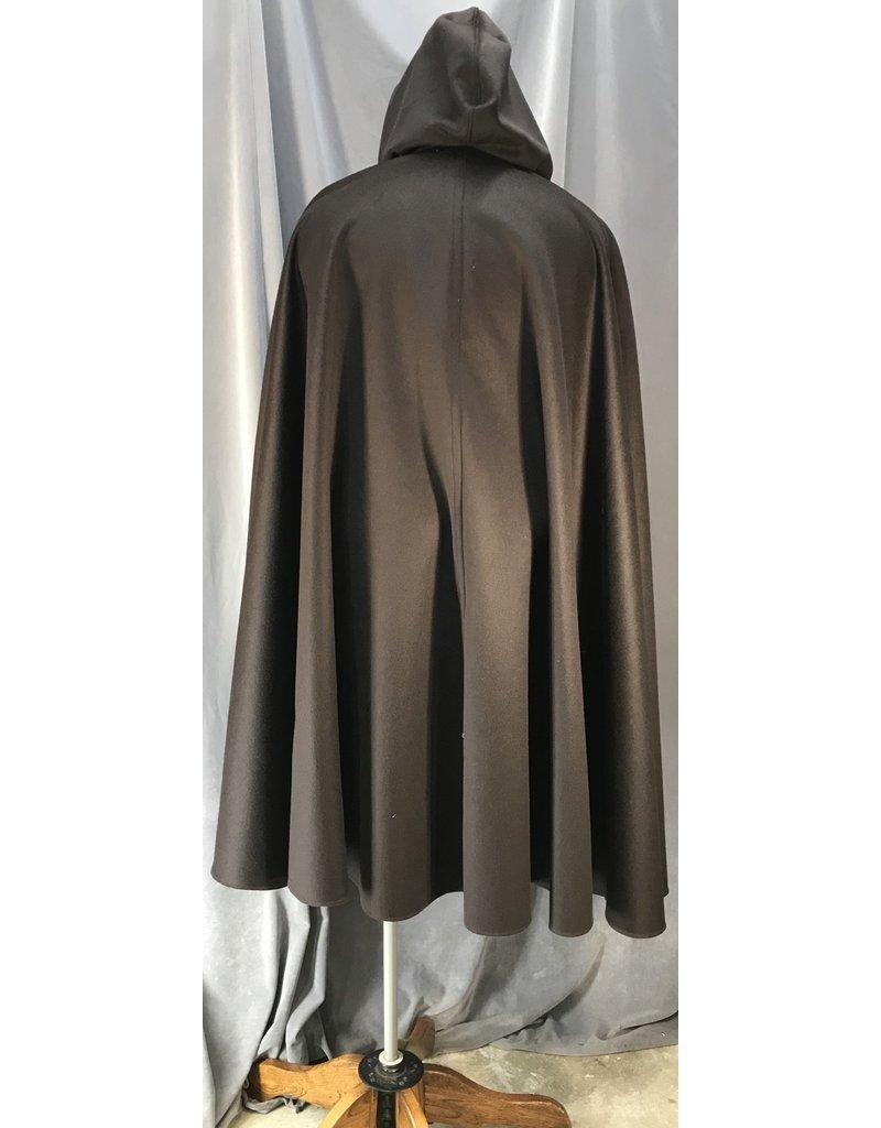 4049 - Dark Brown Cashmere Blend Shaped Shoulder Cloak w/Arm Slits & Pockets, Olive Green Strech Velvet Hood Lining, Pewter Triple Medallion Clasp