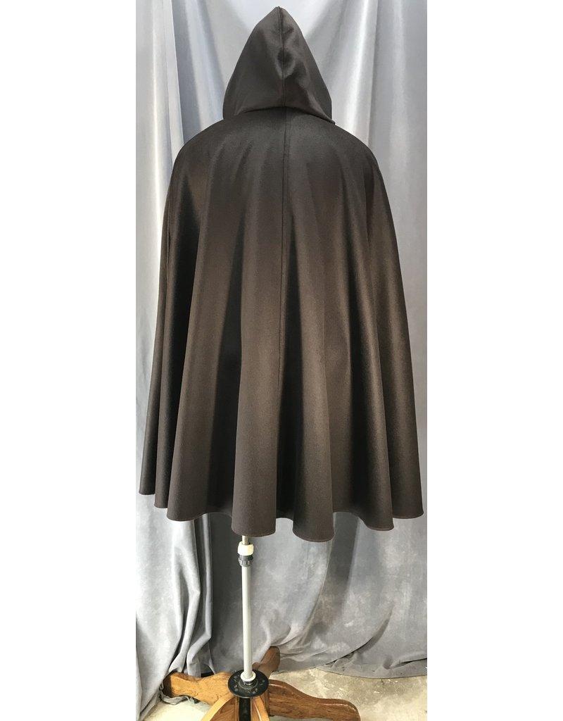 4051- Deep Brown Shaped Shoulder Cloak w/Arm Slits & Pockets, Mink Grey Velvet Hood Lining, Gold-Tone Vale Clasp