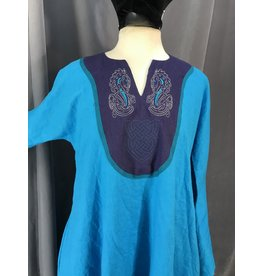 G1034 - Turquoise Blue Drop Sleeve Gown w/Pockets, Hippogryph and Celtic Knot Embroidery Aqua Trimmed Navy Blue Mantle