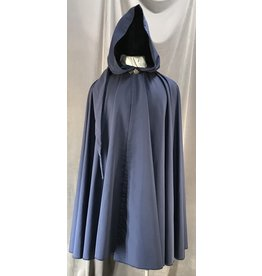 4046 - Easy Care Navy Blue Full Circle Rain Cloak w/ Liripipe Hood, Pewter Vale Clasp