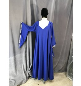 Cloak and Dagger Creations G1031 - XL Cobalt Blue Drop Sleeve Gown w/Pockets, Mongolian Celtic Knot Trim