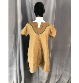 J626 - Med. Brown Youth Tunic, Serpent Embroidery on Green Trimmed Brown Yoke