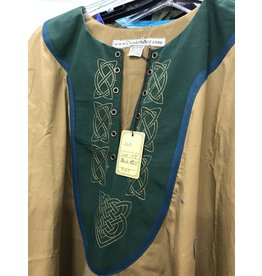 Cloak and Dagger Creations J611- Orche Brown Tunic w/Trimmed Sleeves , Knot Embroidered Green Yoke Grommeted for Lacing