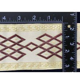 Celtic Mongol Diamonds & Dots  Wide - Burgandy on Cream