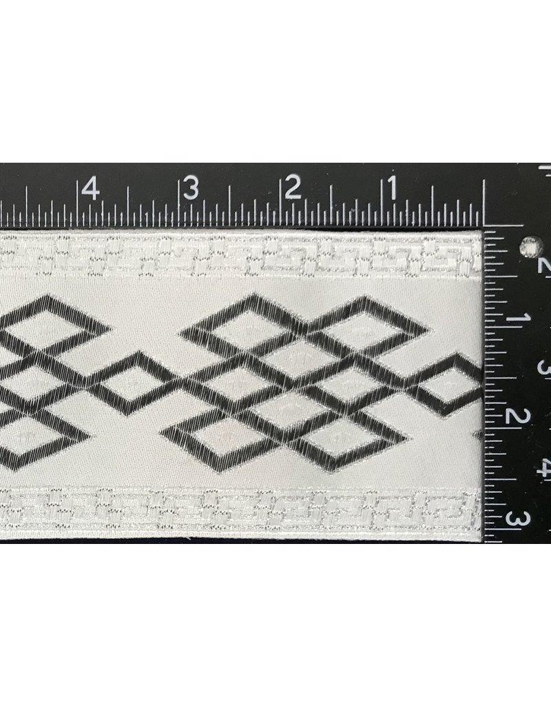 Celtic Mongol Diamonds & Dots Wide - Black on White