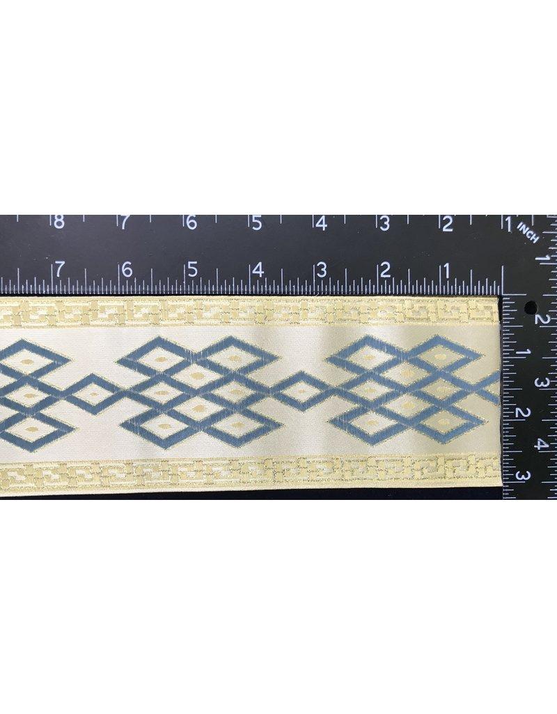 Celtic Mongol Diamond & Dots Trim - Blue on Cream