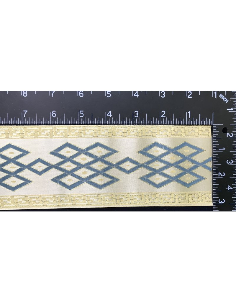 Cloak and Dagger Creations Celtic Mongol Diamond & Dots Trim - Blue on Cream