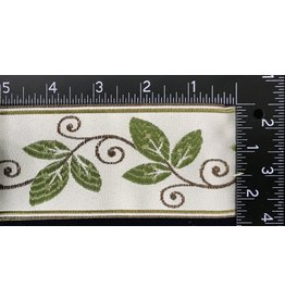 Vines and Curls Trim - Greens and Brown on Ivory
