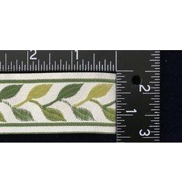 Linked Leaves Trim Narrow - Greens on Cream
