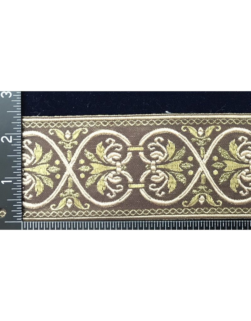 Hearts and Flowers Trim - Beige/Gold on Brown