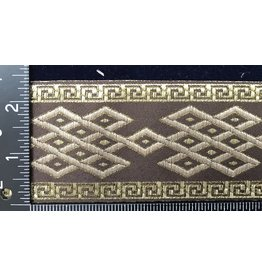 Celtic Mongol Diamond and Dots Trim - Beige/Gold on Brown