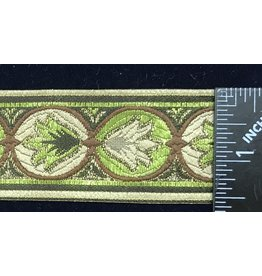 Cloak and Dagger Creations Lotus Lotus Trim - Greens/Gold/Brown on Beige