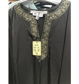 J629 - Chocolate Brown Long Sleeve Tunic w/Green & Gold Cross Trim