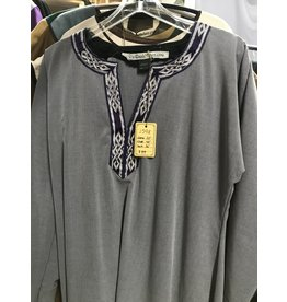 J598 - Dove Grey Rayon Viking Tunic, Purple/Silver Mongolian Celtic Knot Trim- Medium