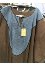 Cloak and Dagger Creations J604 - Brown Short Sleeve Tunic, Blue Yoke, Viking Dragon embroidery