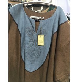 J604 - Brown Short Sleeve Tunic, Blue Yoke, Viking Dragon embroidery
