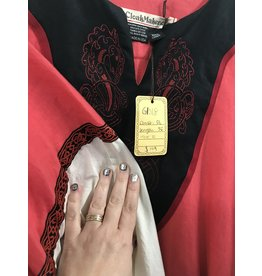Cloak and Dagger Creations G1018 - Coral linen gown with red hippcampus  embroidered on black field