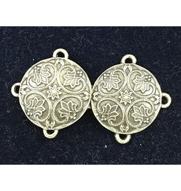 Renaissance Lotus Medallion Cloak Clasp - Bronze Tone Plated