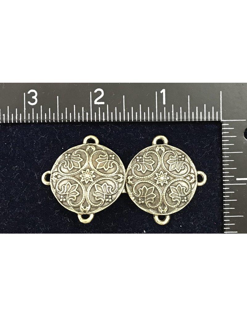 Renaissance Lotus Medallion Cloak Clasp - Bronze Tone Plated