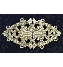 Formal Renaissance Knotwork Cloak Clasp - Bronze Tone Plated