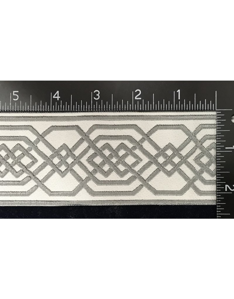 Cloak and Dagger Creations Double Celtic Chained Knotwork Wide, Grey on Cream
