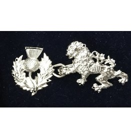 Cloak and Dagger Creations Lion Rampant and Thistle Cloak Clasp - Silvertone Plated