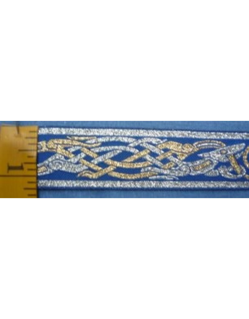 Cloak and Dagger Creations Celtic Beasties Trim, Silver/Gold on Blue - Narrow