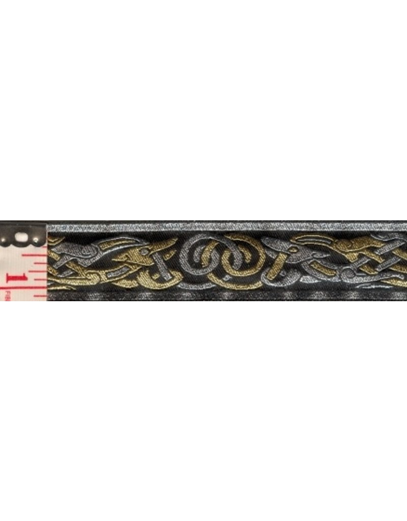 Cloak and Dagger Creations Celtic Beasties Trim, Silver/Gold on Black - Narrow