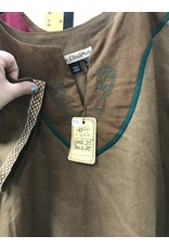 Cloak and Dagger Creations J626 - Med. Brown Youth Tunic, Serpent Embroidery on Green Trimmed Brown Yoke
