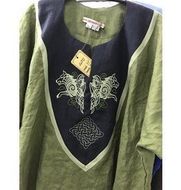 J670- Olive Green Linen Tunic, Midnight Blue Yoke w/Rampant Wolves & Square Knot Embroidery, Olivine Trim