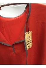 Cloak and Dagger Creations J675 - Scarlet Red Washable Youth Tunic, Keyhole Neckline, Grey Trim