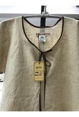 Cloak and Dagger Creations J677 - Youth Short Sleeve Linen Tunic, Keyhole Neckline, Tan Tiny Gingham Pattern, Brown Trim