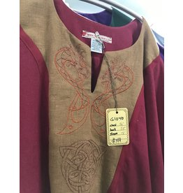 G1040 - Red Short Sleeve Gown w/Pockets, Golden Brown Trim, Gold Yoke w/Embroidered Viking Dragons, Celtic Knot, red Trim
