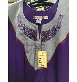 Cloak and Dagger Creations J636 - Purple Short Sleeve Tunic Red Trim, Celtic Dog Embroidery on Grey Panel