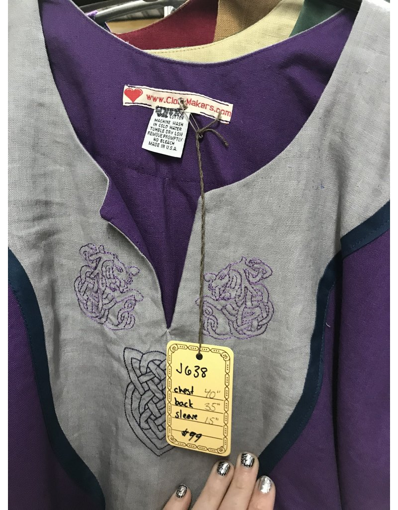 Cloak and Dagger Creations J638 - Purple Short Sleeve Tunic, Grey Embroidered Panel Trimmed Blue