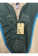 Cloak and Dagger Creations J639 - Cream Linen Tunic w/Blue Trim, Green Cotton Yoke, Viking Dragon Embroidery